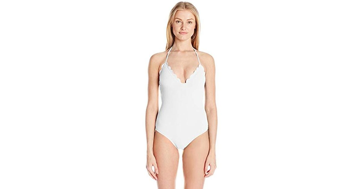 60c983700d4 Lyst - Jessica Simpson Under The Sea Scalloped Edge Halter One-piece  Swimsuit in White - Save 26%