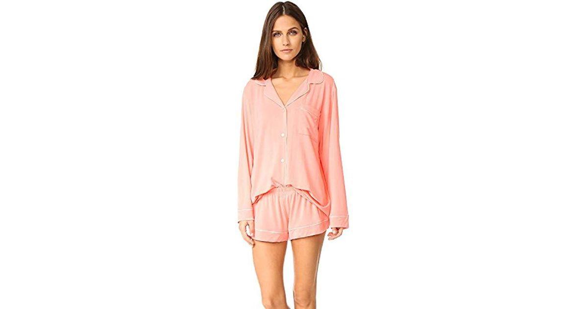 4497390607f Lyst - Eberjey Gisele Two-piece Long Sleeve   Short Pajama Sleepwear Set in  Pink