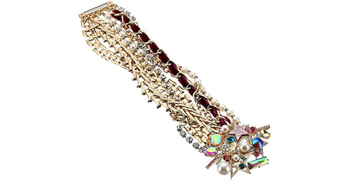 Lyst Betsey Johnson Colorful Stone And Statement Bracelet In Metallic