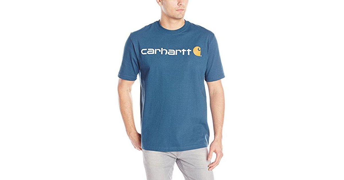 b77524cd91 Lyst - Carhartt Core Logo Workwear Short-sleeve T-shirt in Blue for Men -  Save 10%