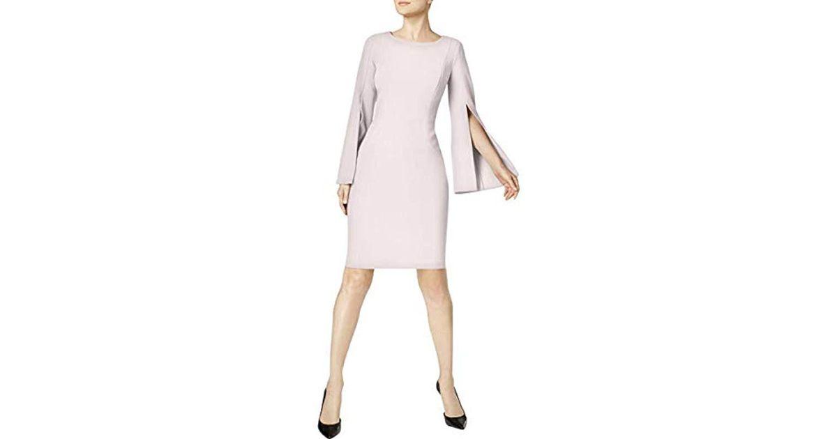 892af99f Lyst - Calvin Klein Solid Split Sleeve Sheath Dress in Pink