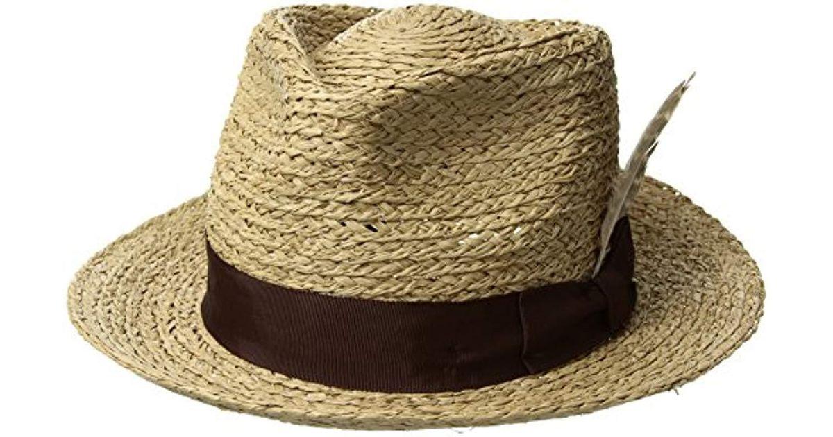 759746b845f Lyst - Brixton Crosby Medium Brim Straw Fedora Hat for Men