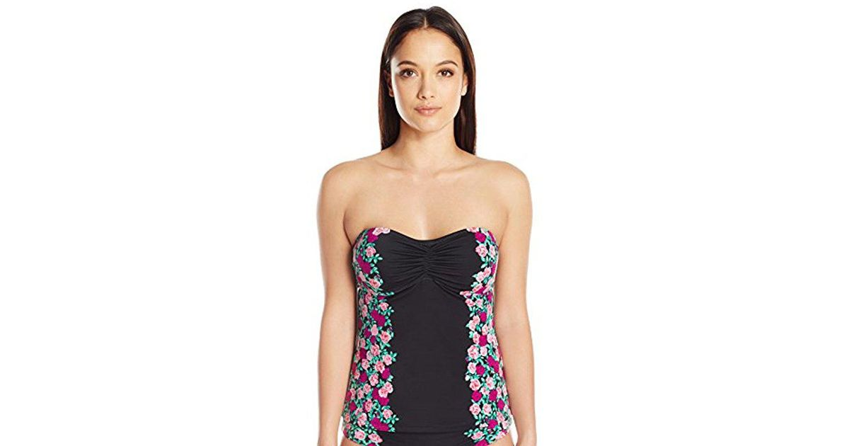 b39a043d19922 Betsey Johnson S Swimwear Ballerina Rose Molded Tankini in Black - Lyst