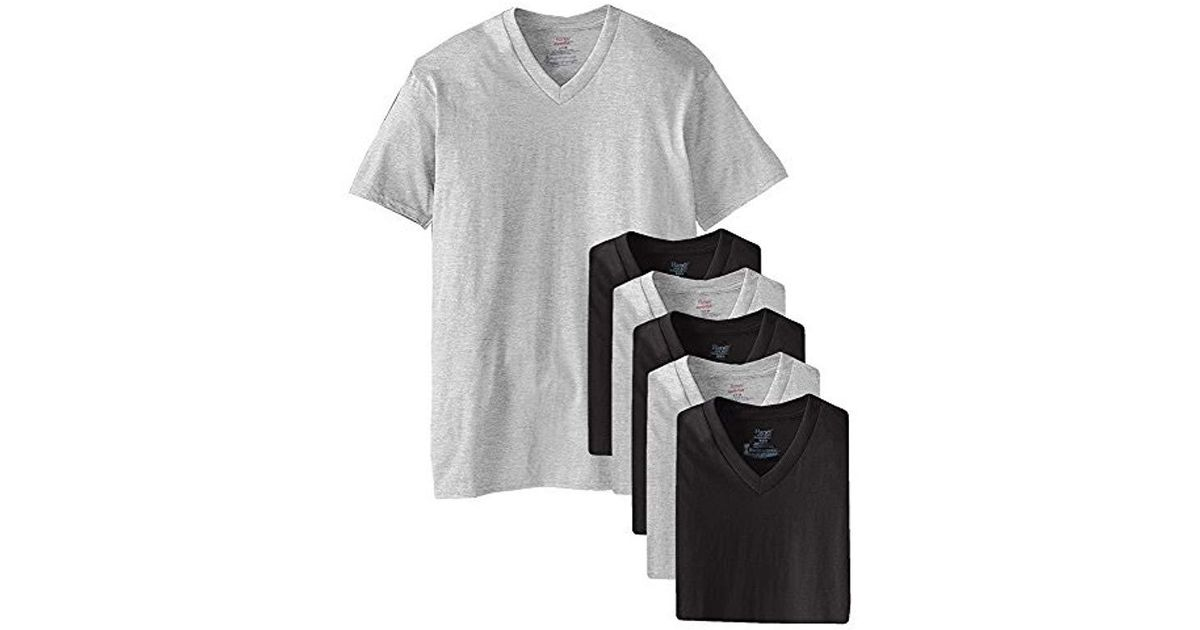 fbe986a2 Hanes Mens Tagless Comfortsoft V-neck Undershirts, 6-pack in Black for Men  - Lyst