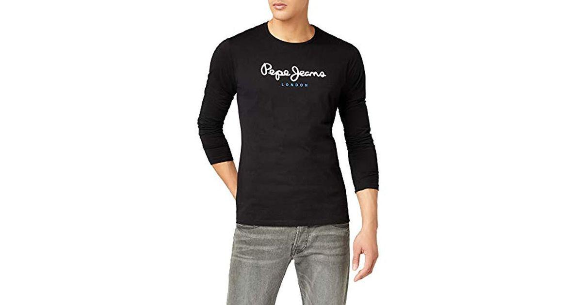 efb6370619e Pepe Jeans EGGO Long Pm501321 T-shirt in Black for Men - Lyst