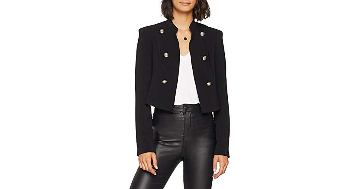 Femme Crop Noir Guess Graciana Giacca Lyst Coloris Manteau Jacket En 7EXfxq bf555a645ae