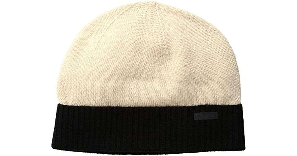 Lyst - Nautica Merino Wool Beanie Hat in Natural for Men 8b079f1ef35