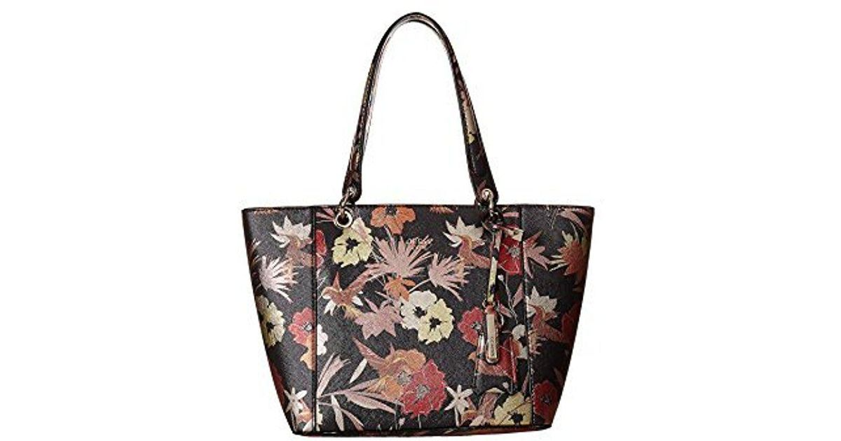 Lyst - Guess Kamryn Floral Tote in Black 806e91fb46