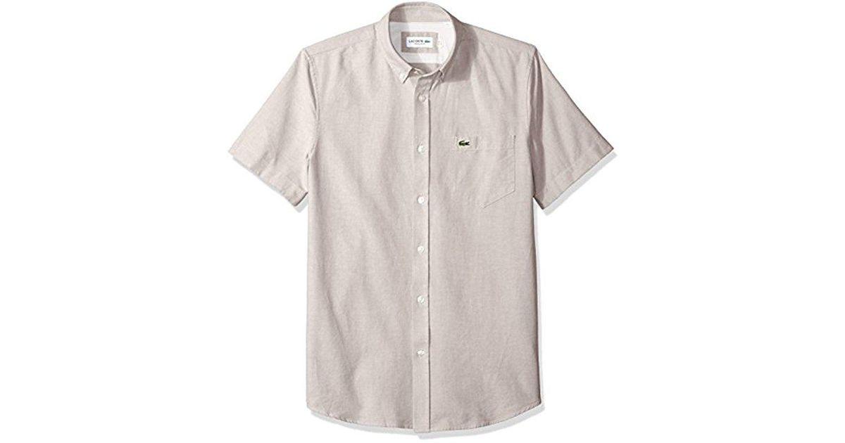 95b598218 Lyst - Lacoste Short Sleeve Oxford Button Down Collar Regular Fit Woven  Shirt