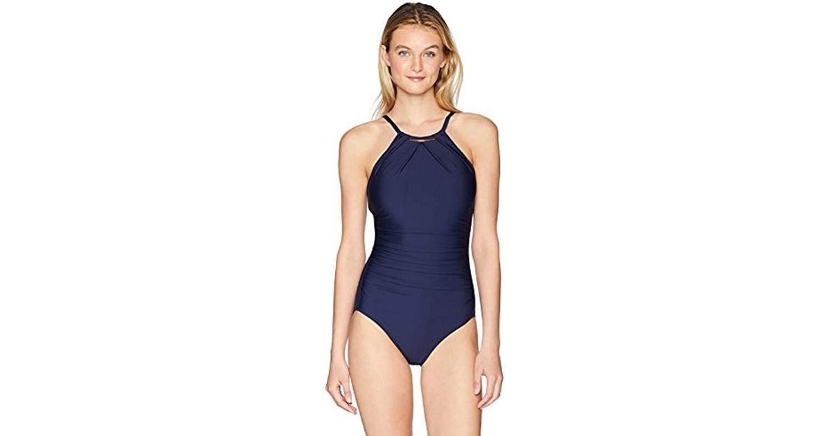 c0f831a7e6 Lyst - Calvin Klein Solid High Neck Pleated One Piece Swimsuit in Blue