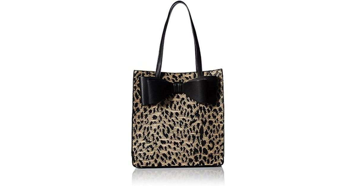 60e24fb5fee1 Betsey Johnson Mighty Jungle Leopard Print Bow Tote in Black - Lyst