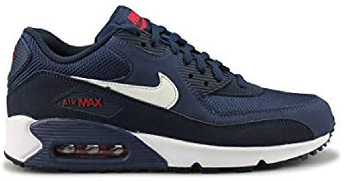 los angeles 0ba49 9252b Nike Air Max 90 Essential Gymnastics Shoes, Multicolour (midnight Navy white  university Red 403), 8 Uk in Blue for Men - Lyst