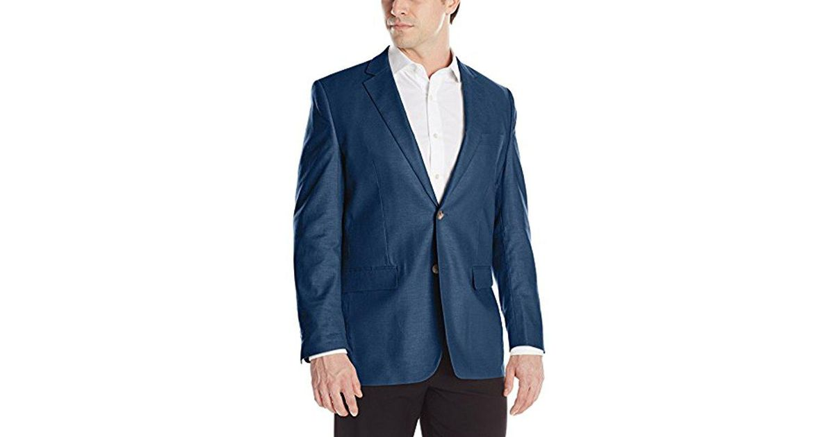0145434919 Lyst - Perry Ellis Waxed Linen Two-button Sport Coat in Blue for Men