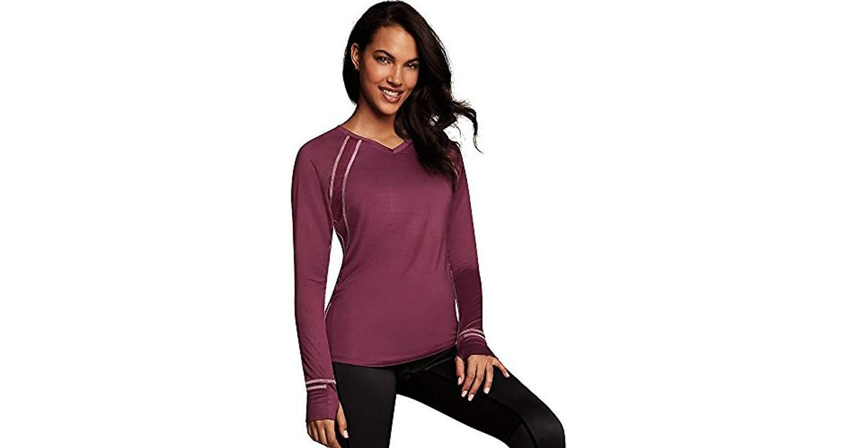 Lyst - Maidenform Sport Baselayer Active V-neck Top in Purple 2a7fc2f3d