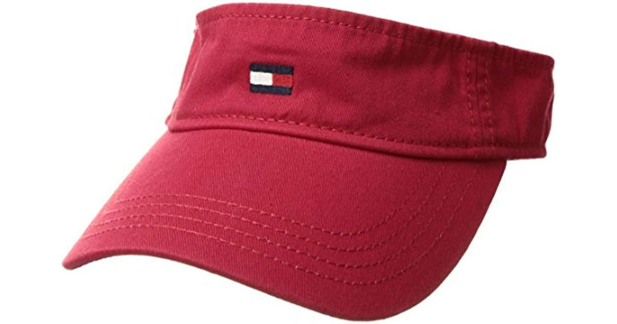 Lyst - Tommy Hilfiger Dad Hat Flag Solid Cotton Visor in Red for Men 45efcf4dfcba