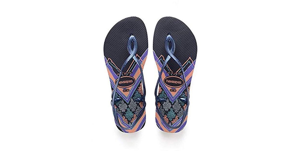 df2ef3cbd44485 Havaianas Luna Print Sandals in Blue - Save 29% - Lyst