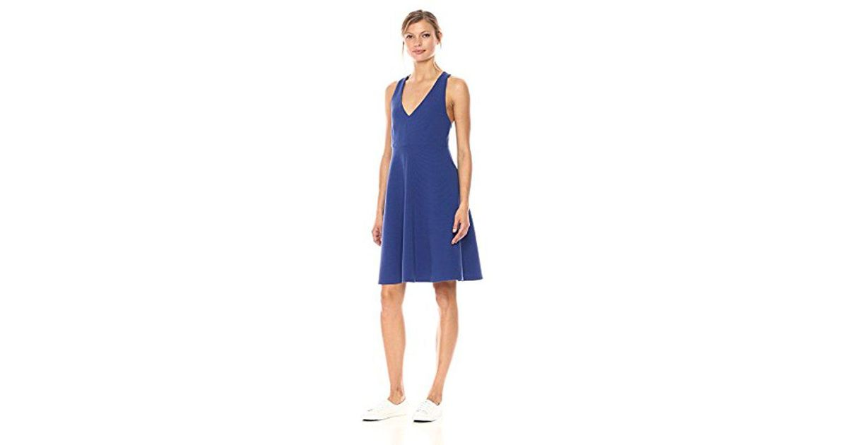 4e699d277 Lyst - Lacoste Sleeveless Ottoman Fit   Flare Dress in Blue