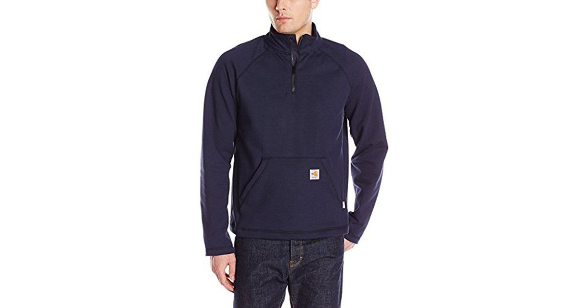 4833391602f2 Lyst - Carhartt Flame Resistant Force Rugged Flex Quarter Zip Fleece in  Blue for Men