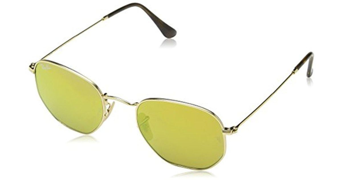 Lyst - Ray-Ban Rb3548n 001/93 Non Pol Sunglasses - Gold Frame/ Gold ...