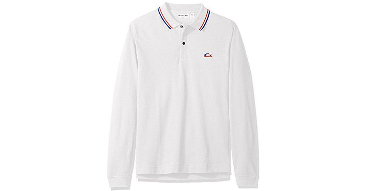 66811ec80e Lacoste Long Sleeve Holiday Animation Regular Fit Polo Shirt With Piped  Collar in White for Men - Lyst