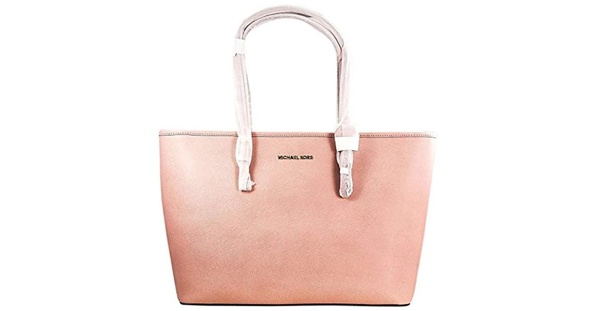 d9ddcbd6820a Michael Kors Jet Set Travel Top-zip Tote Handbag in Pink - Lyst