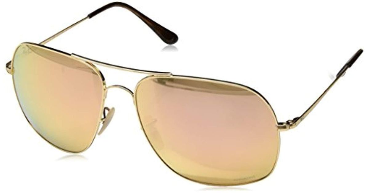 664e2b1b55 Ray-Ban Large Square Chromance Aviator Sunglasses In Gold Pink Gold Mirror  Polarised Rb3587ch 001 i0 61 in Metallic for Men - Lyst