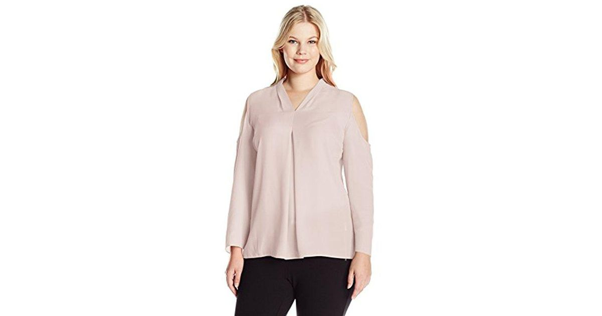 575cd8c78fd77 Lyst - Vince Camuto Plus Size Long Sleeve Cold-shoulder Invert Pleat V-neck  Blouse in Pink