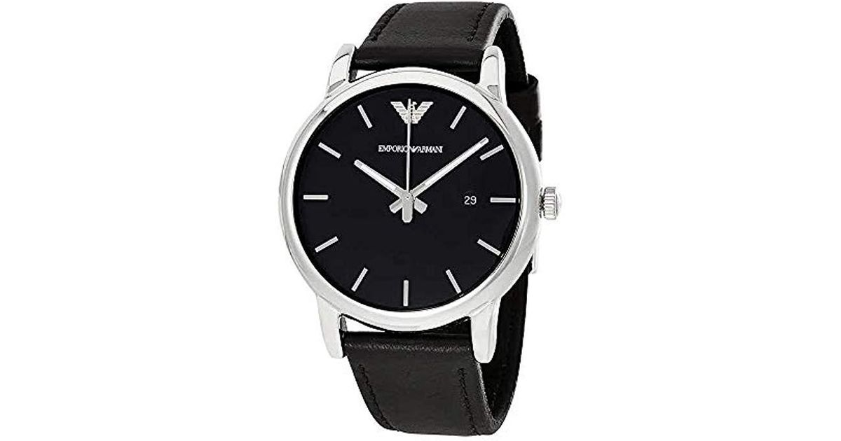 fedce9a7b Lyst - Emporio Armani Ar1692 Luigi Classic Leather Watches in Black for Men