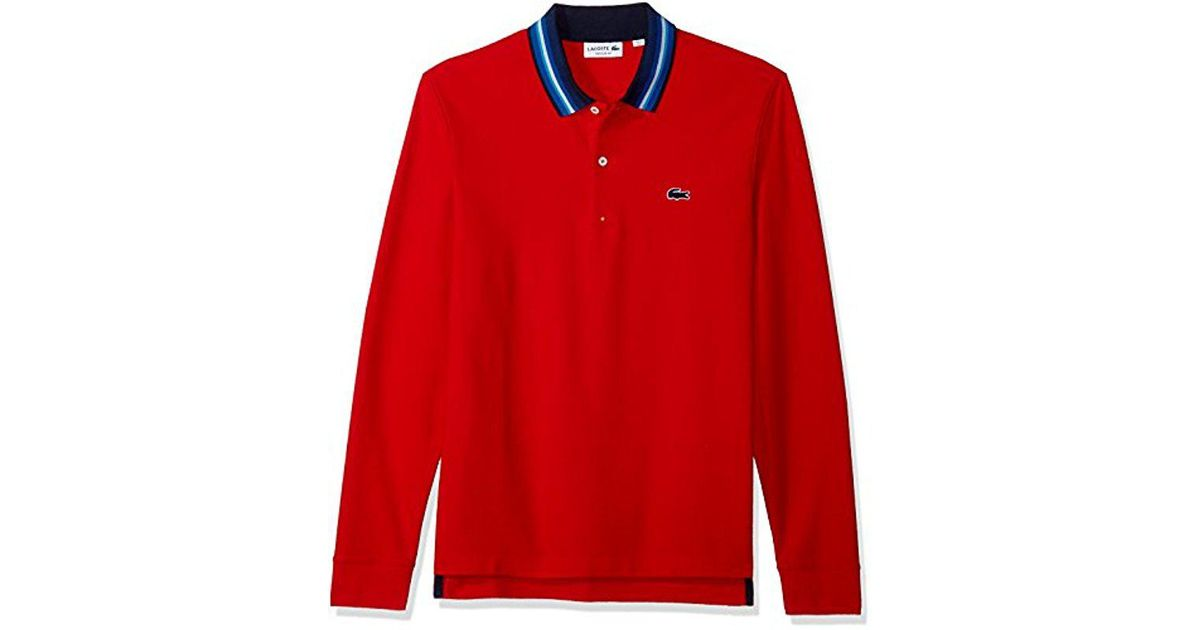 6504cd382 Lyst - Lacoste Holiday Long Sleeve Slubbed Pique Polo-regular Fit in Red  for Men - Save 20%