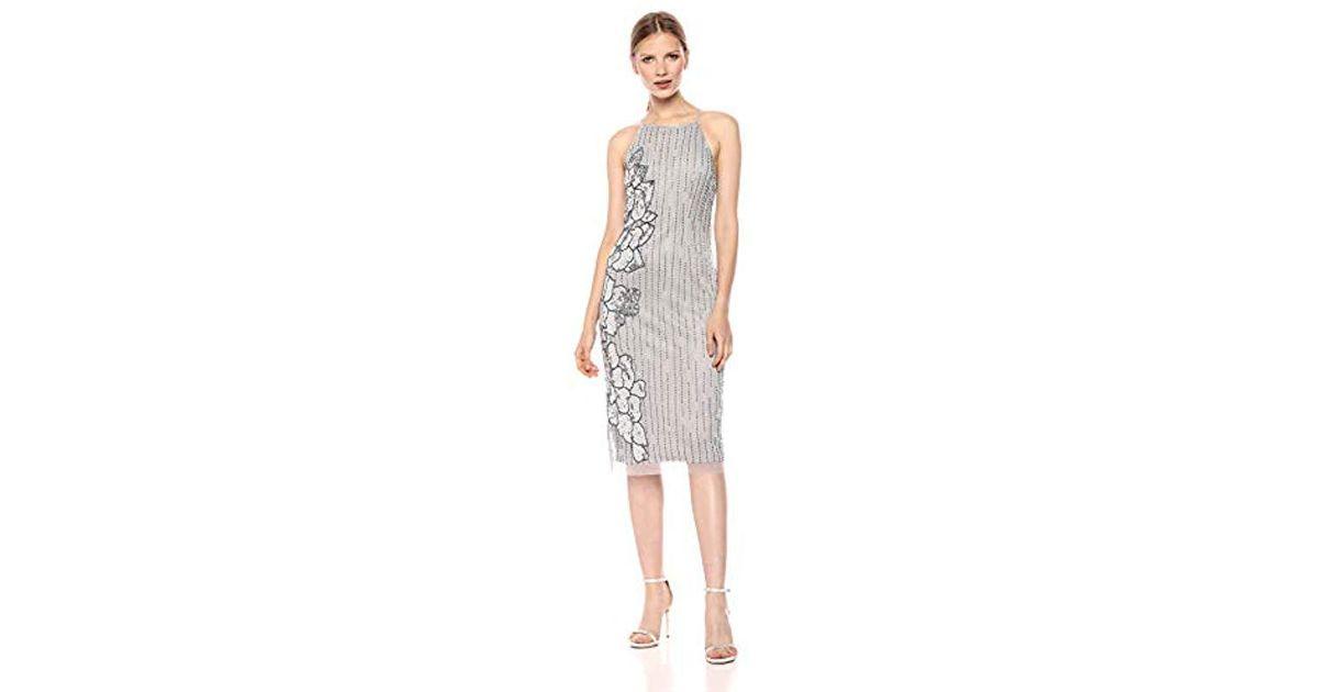 03d1e5befd2 Lyst - Adrianna Papell Halter Midi Length Beaded Cocktail Dress in Metallic