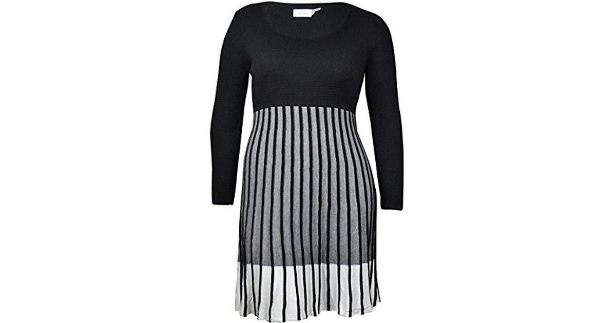 b0f83fe302 Lyst - Calvin Klein Long-sleeve Ombre Sweater Dress in Black