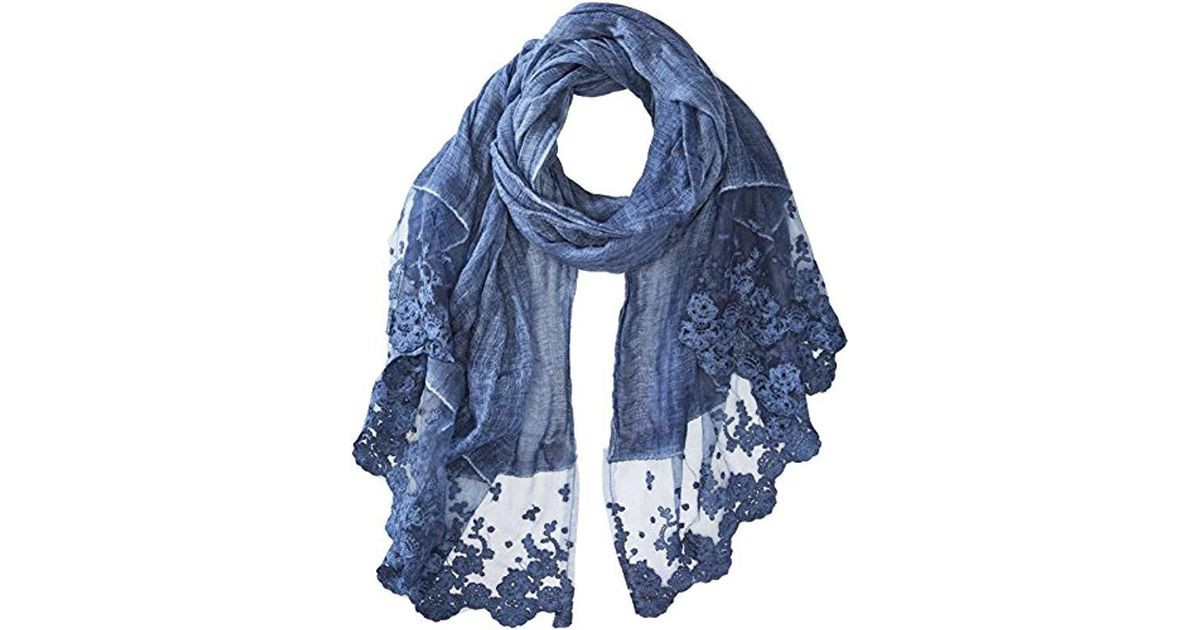 565be851aa7b4 Lyst - La Fiorentina Thin Polyester Scarf/wrap With Lacy Trim in Blue -  Save 46%