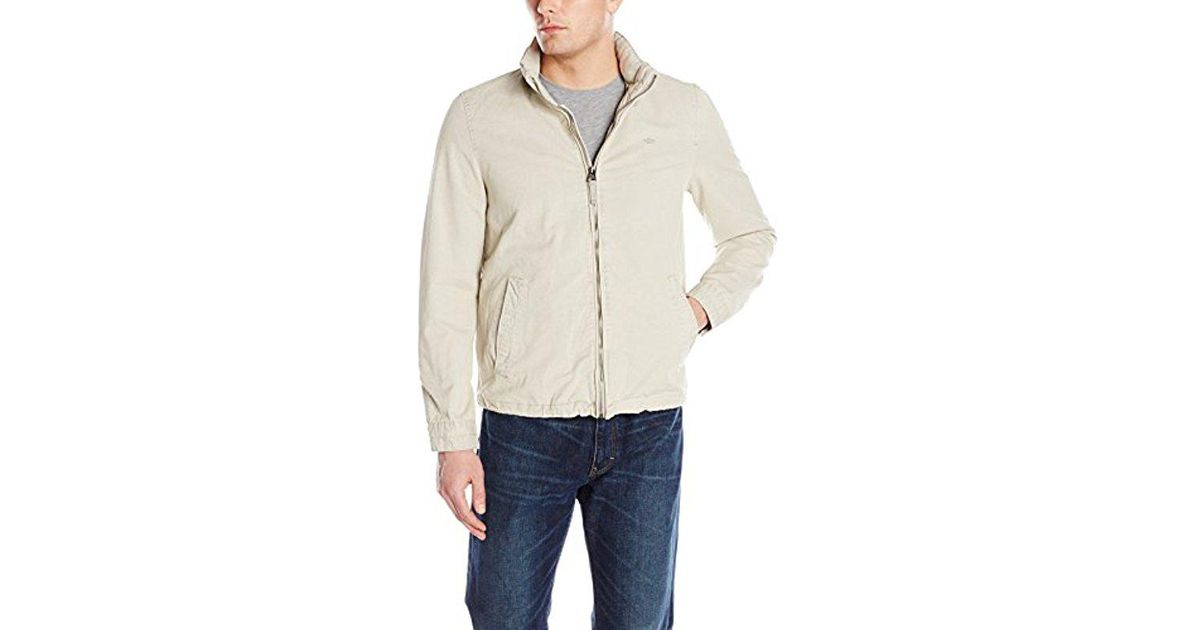 b2f30cd0ae03 Lyst - Dockers Washed Cotton Stand Collar Zip Front Jacket in Natural for  Men