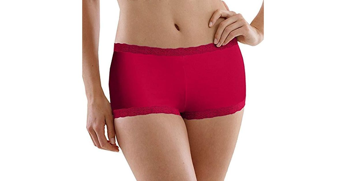 ce30e3fba2d1 Maidenform Microfiber Lace Boyshort Panty in Red - Lyst