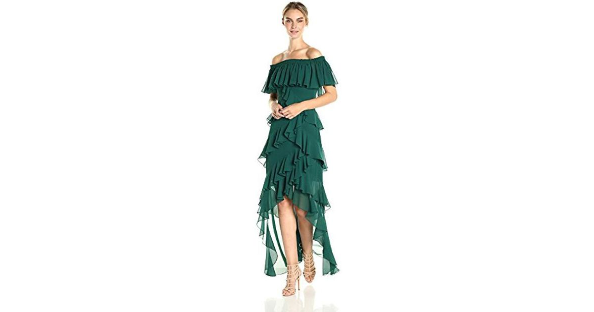 405d1d49dcc2 Lyst - Badgley Mischka Off The Shoulder Ruffle Gown in Green