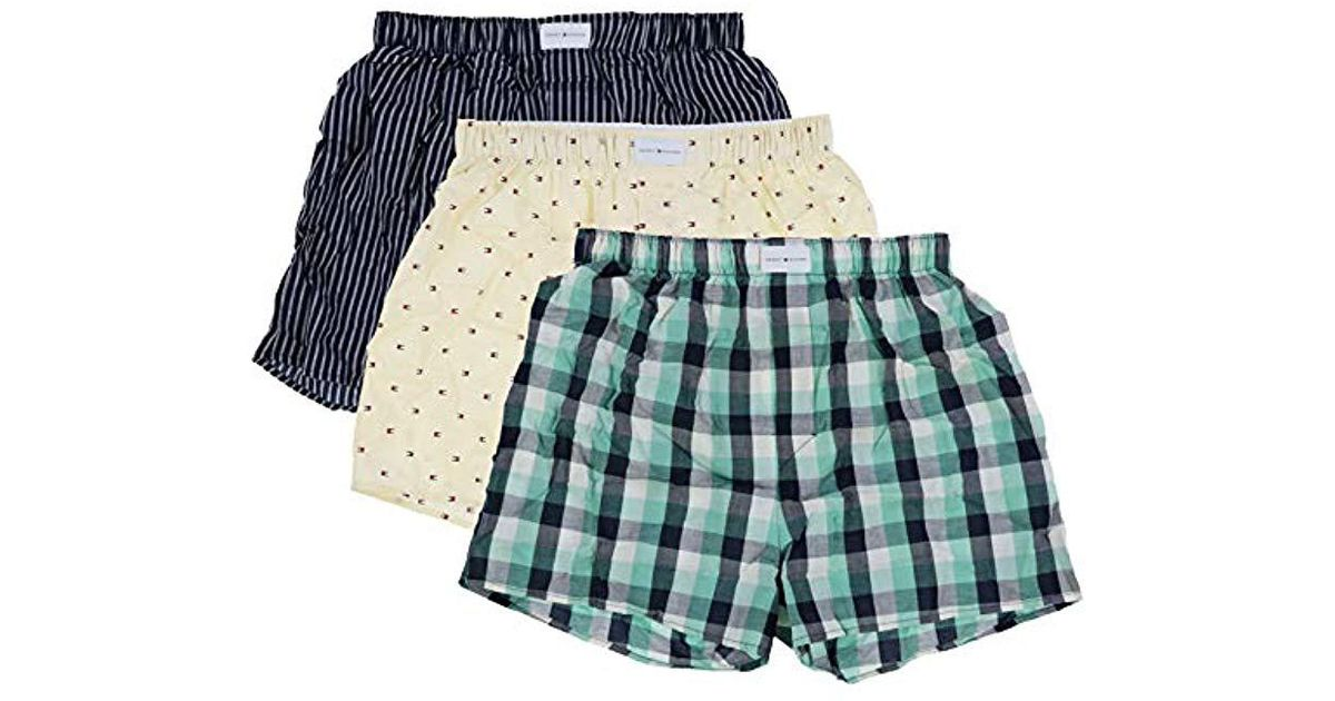 0dd7a8505bc2 Lyst - Tommy Hilfiger 3 Pack Cotton Classics Woven Boxers in Blue for Men