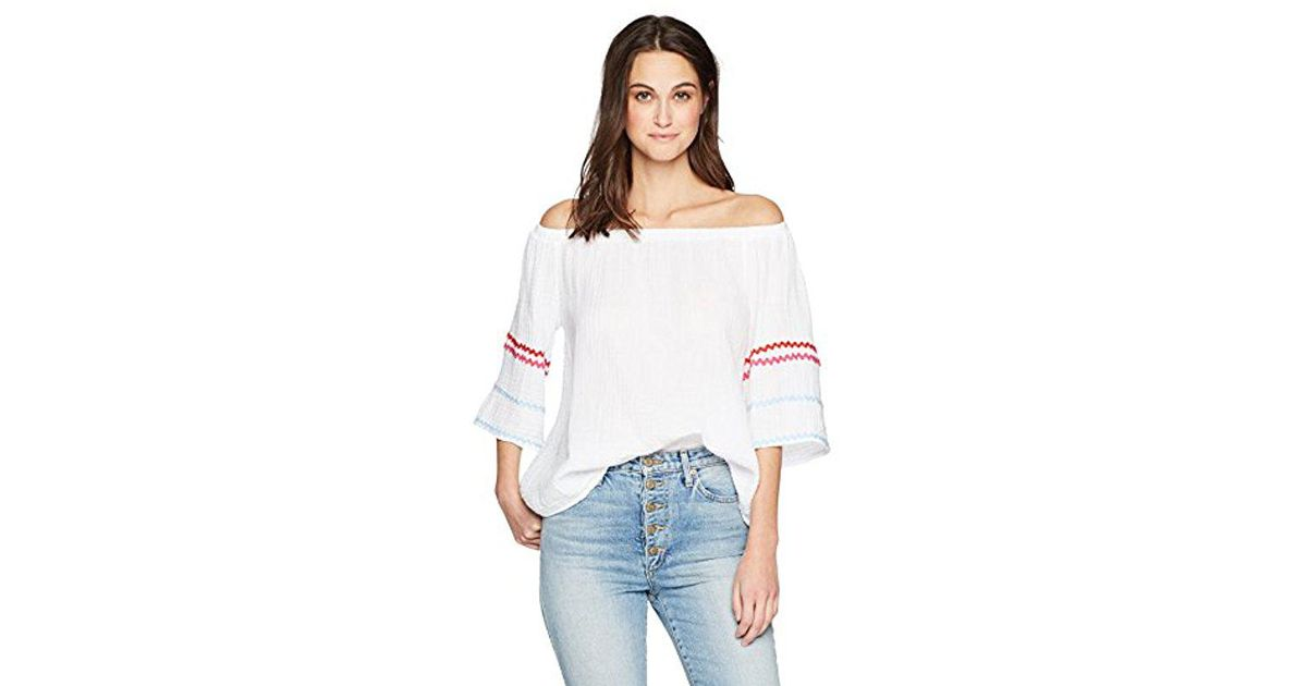 b9595c4a7f5 Lyst - Michael Stars Ric Rac Double Gauze Off-the-shoulder Top in White