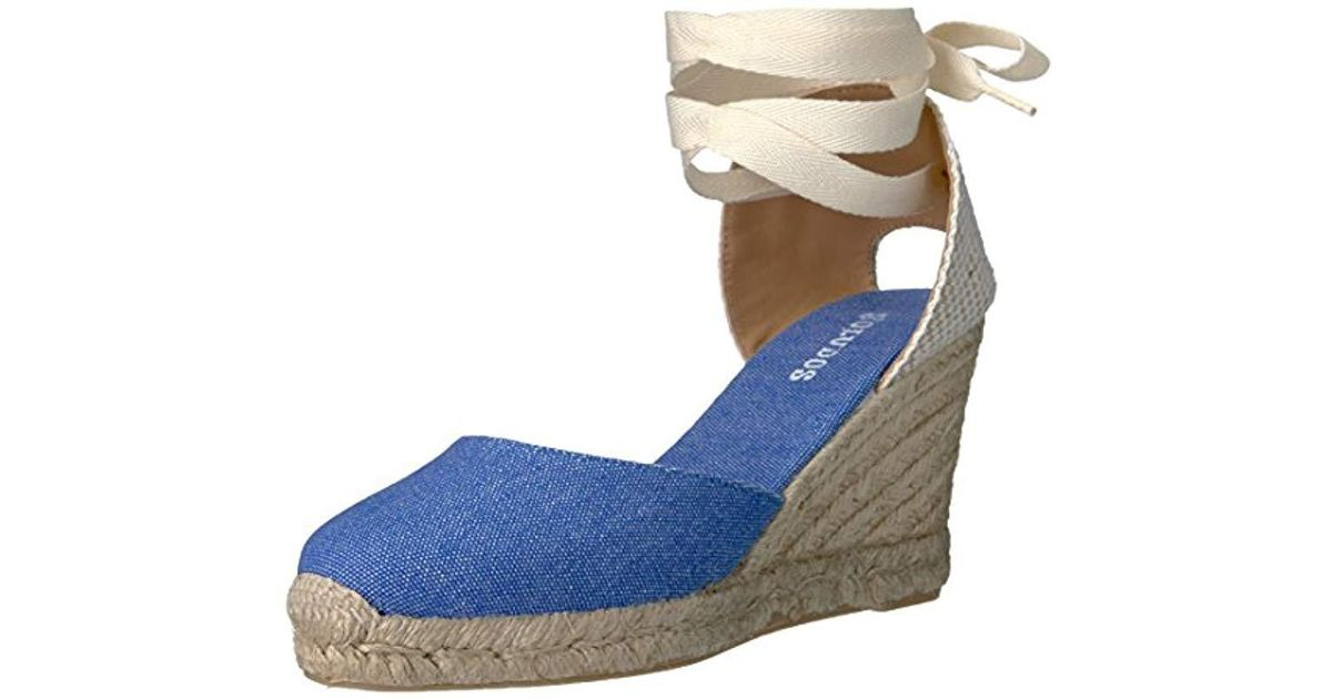 ce6379831 Soludos Tall Wedge Flat in Blue - Lyst