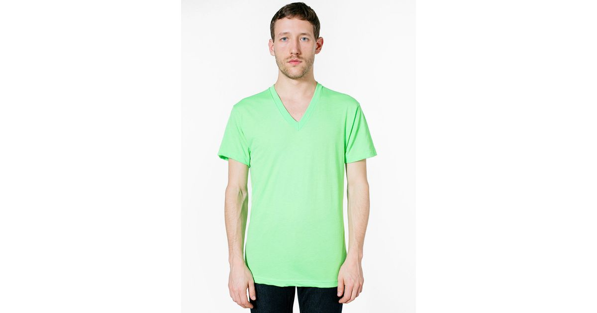 American apparel 50 50 v neck t shirt in green for men for Neon green shirts for men