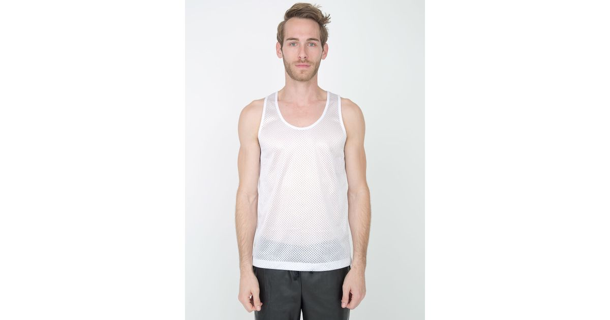 American apparel poly mesh athletic tank in white for men for American apparel mesh shirt
