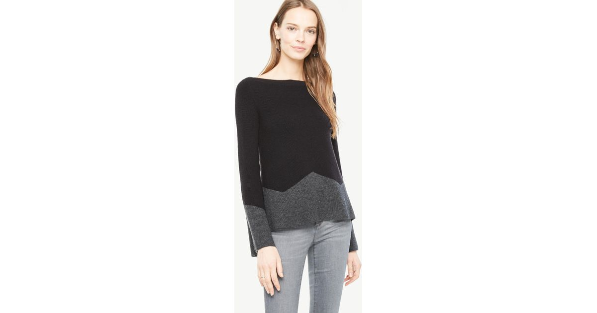 b74d37db52 Lyst - Ann Taylor Colorblock Fluted Sleeve Boatneck Sweater in Black