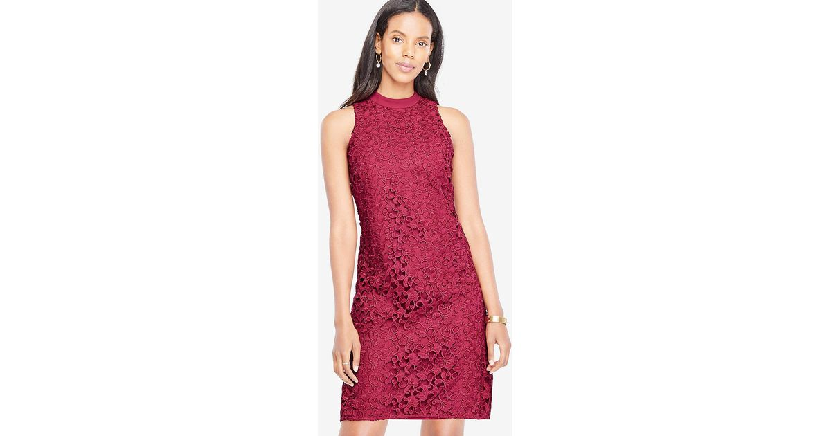 Lyst - Ann Taylor Floral Lace Mock Neck Dress in Red