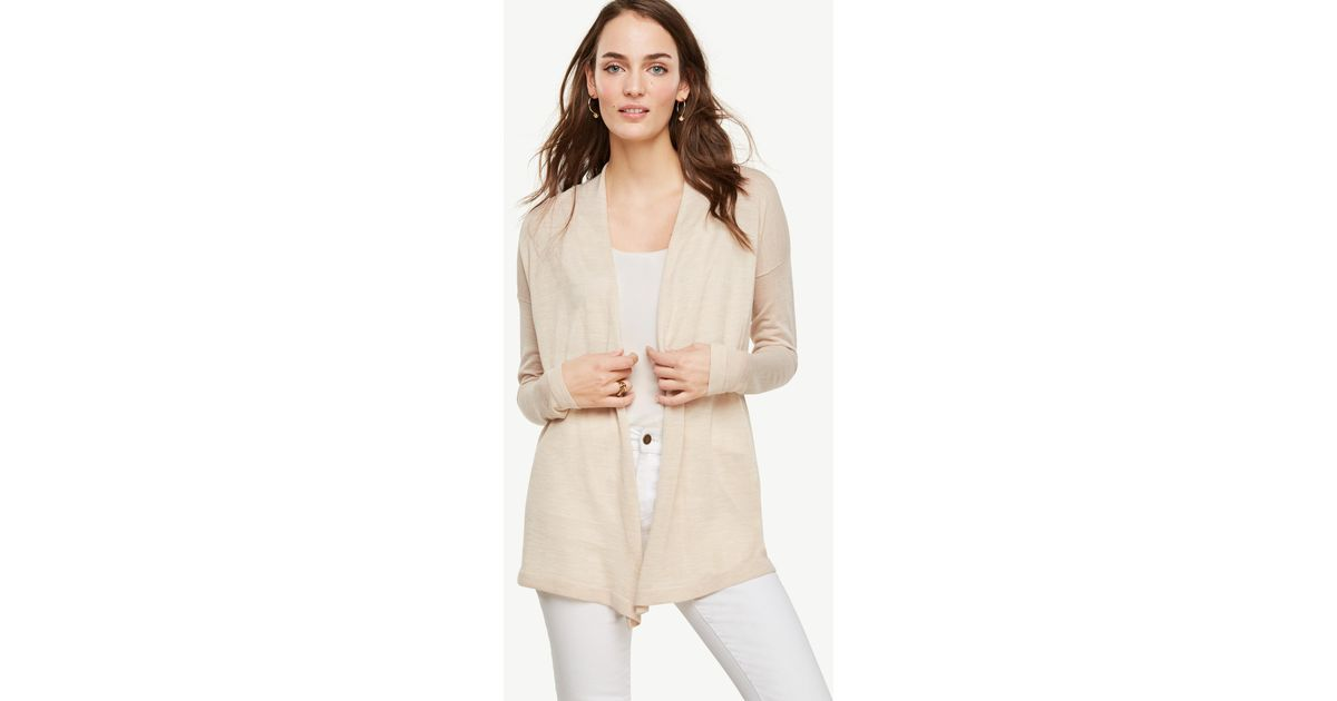 Ann taylor Wool Blend Open Cardigan in Natural | Lyst