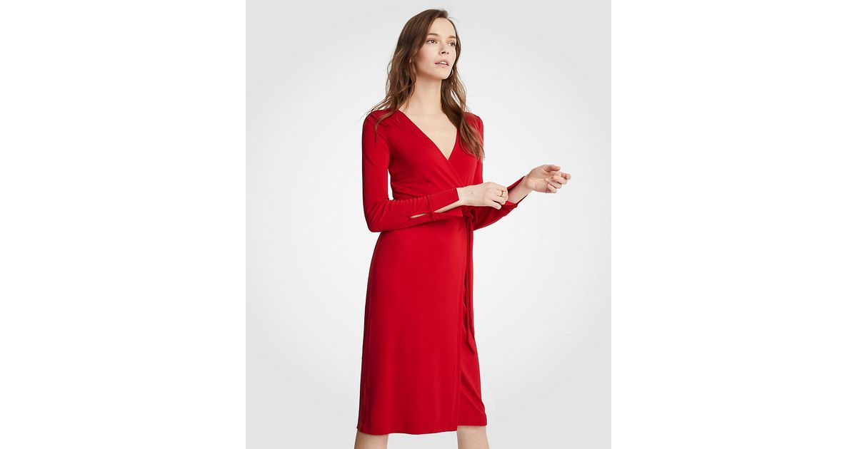 2d39b822ea31 Ann Taylor Button Cuff Wrap Dress in Red - Lyst