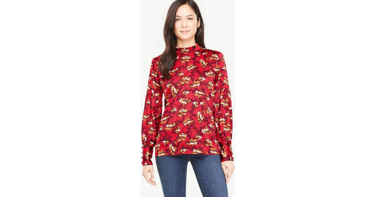 61782681266 Lyst - Ann Taylor Petite Floral Mock Neck Lantern Sleeve Blouse in Red