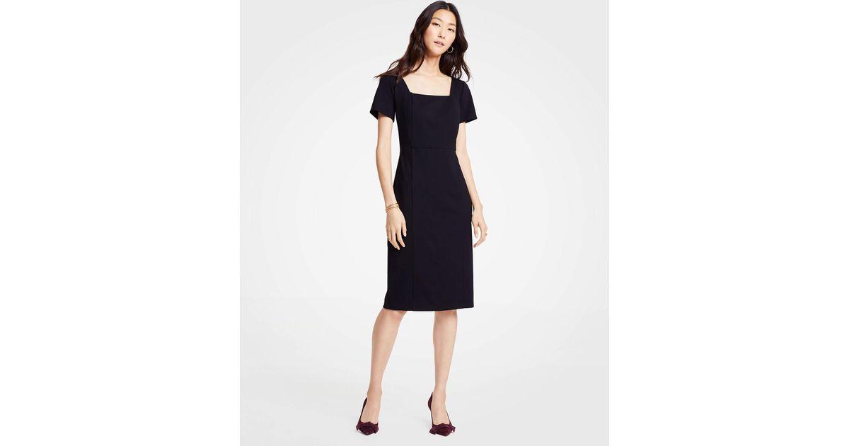 2c58696c Lyst Ann Taylor Petite Square Neck Ponte Sheath Dress In Black