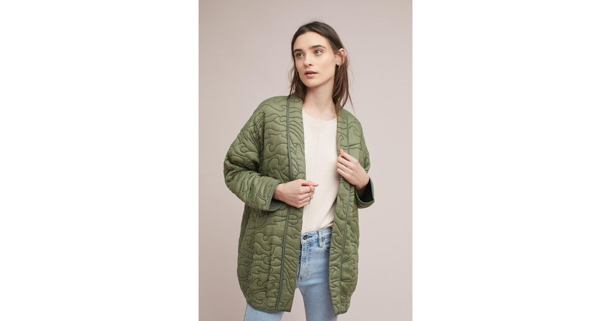 a6a04a9322b Anthropologie Quilted Kimono Jacket in Green - Lyst