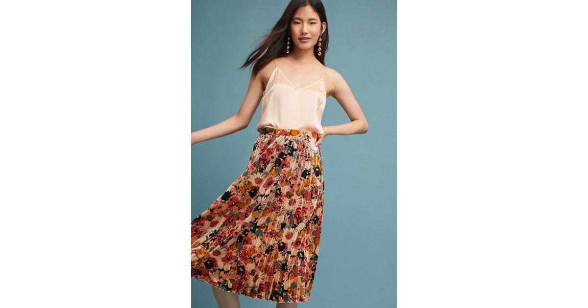 e71616e0a Maeve Nilla Floral Velvet Skirt in Pink - Lyst