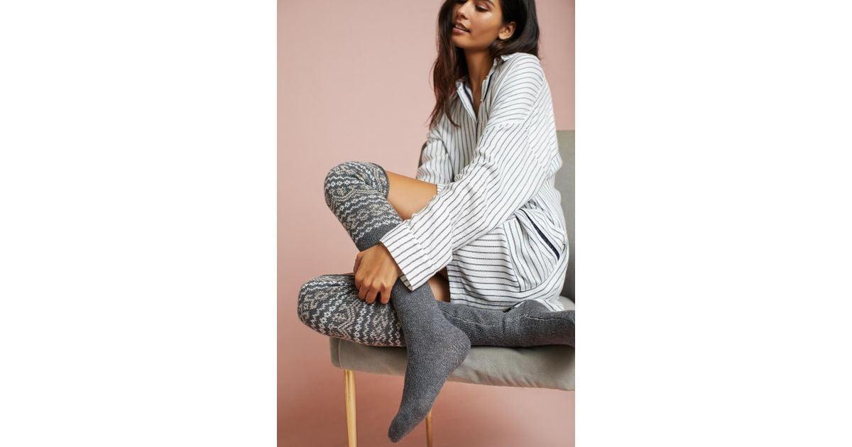Lyst - Pure + good Fair Isle Over-the-knee Socks in Gray