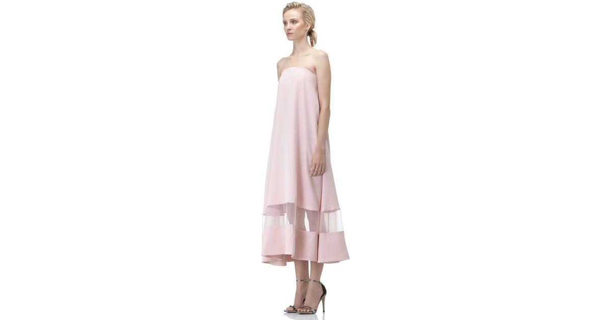 Lyst - AQ AQ Sinead Strapless Midi Dress in Pink ba7cd9ef8